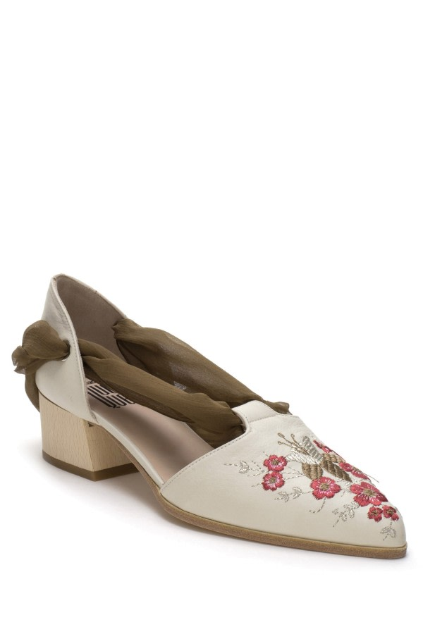 Floral-Embroidered Ballerinas