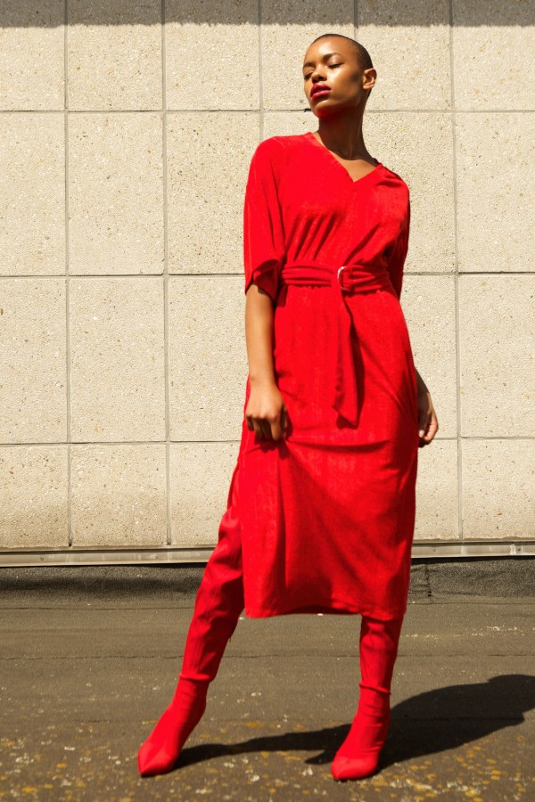 Belted Velour Midi Dress
