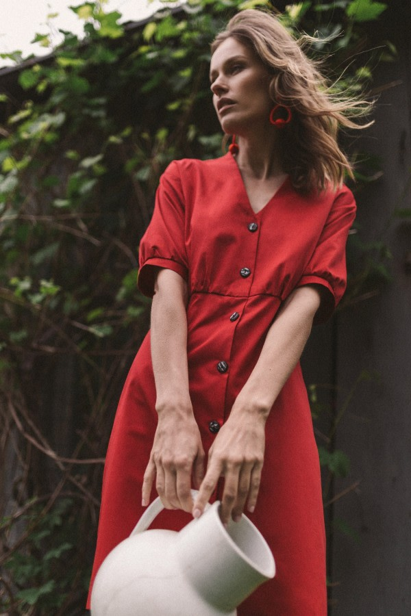 Red Organic Cotton Mini Dress