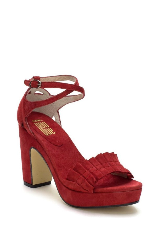Red Ruffle Platform Sandals