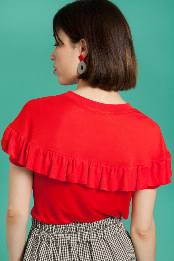 Red Ruffle T-Shirt