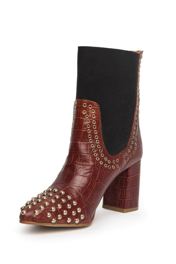 Studded Croc-Effect Leather Boots