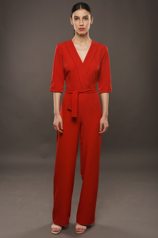 Red Wide-Leg Jumpsuit