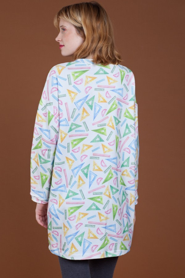 Ruler-Print Oversized Organic Dress
