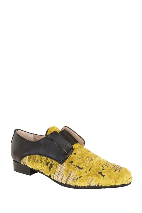 Austin Yellow Velvet Brogues