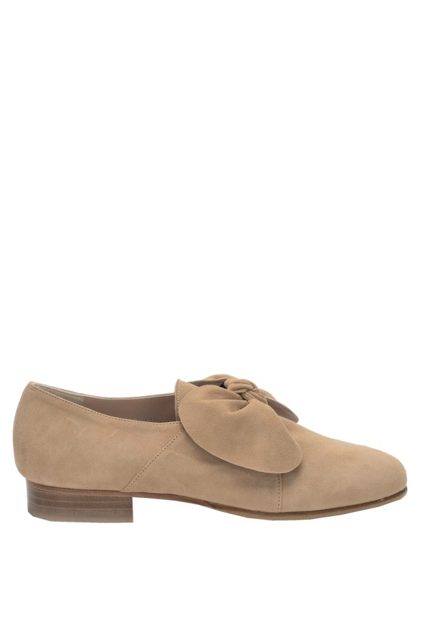 Camel Bow Suede Loafers