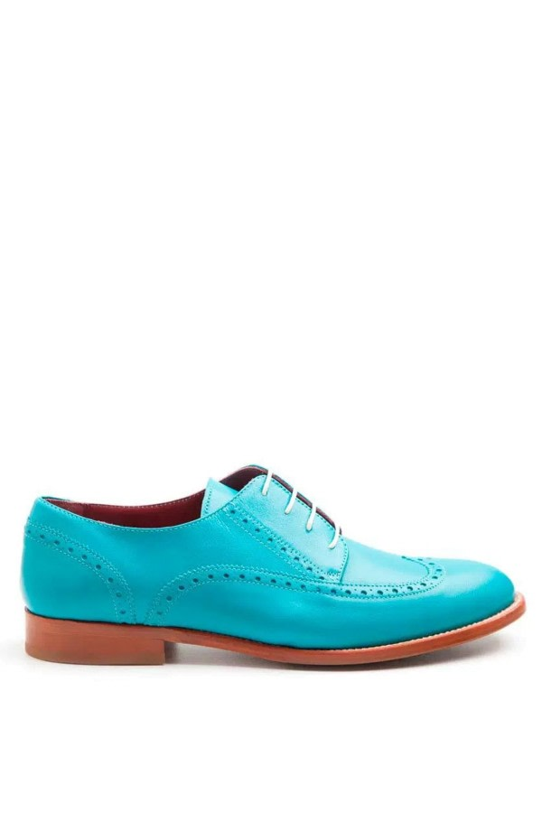 Ethel Aquamarine Leather Brogues