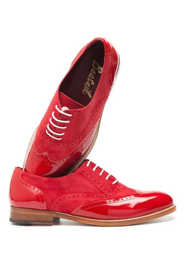 Lena Red Leather Brogues