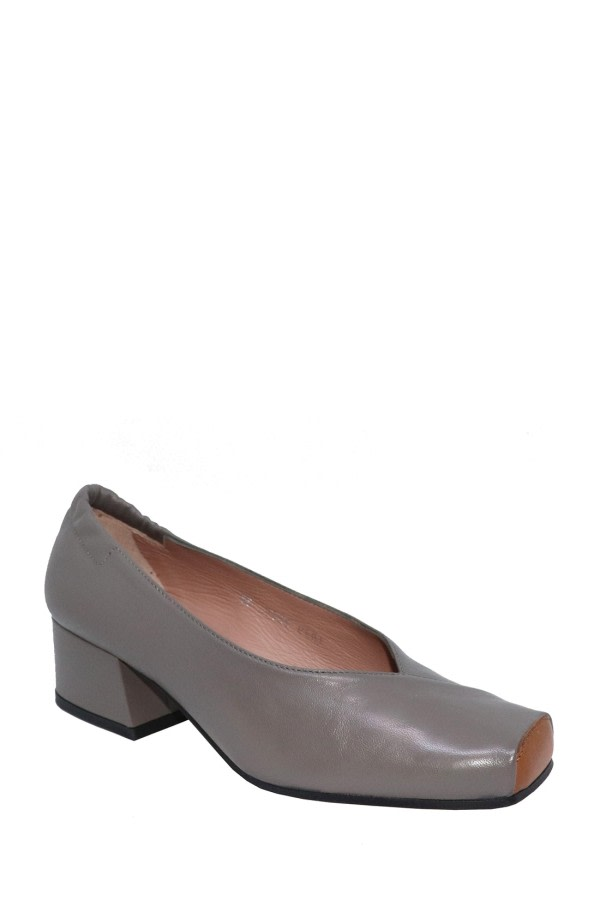 Square-Toe Leather Pumps