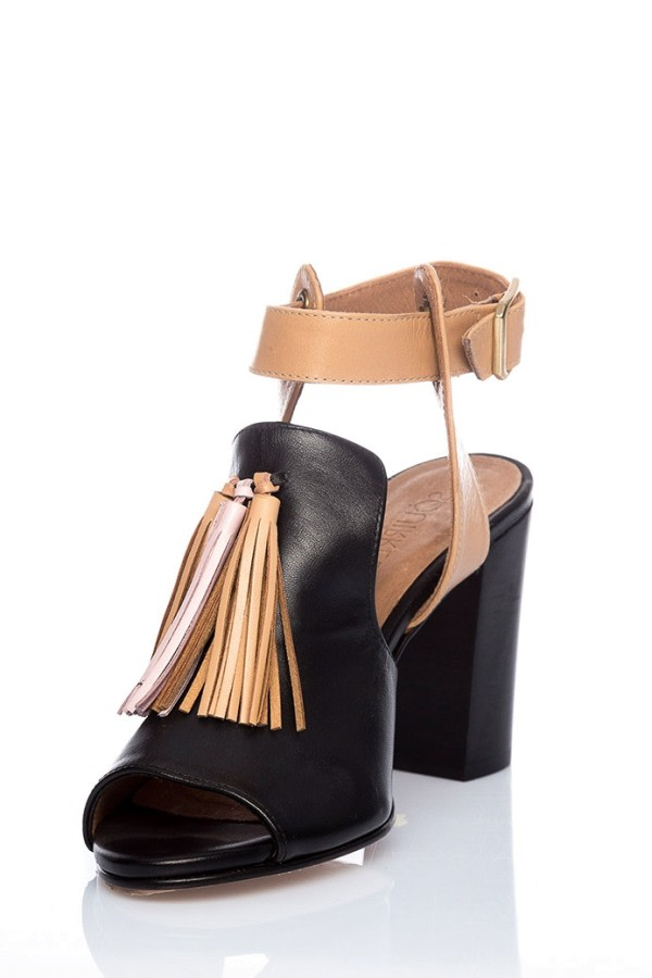 Tassel Black Leather Sandals