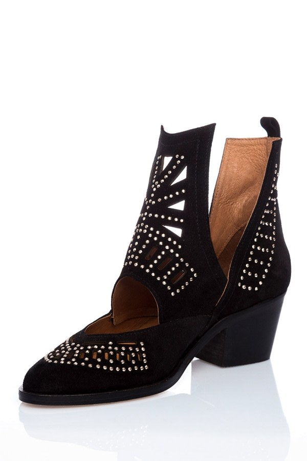 Black Cut-Out Suede Ankle Boots