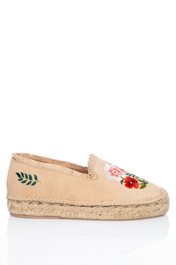 Embroidered Suede Espadrilles