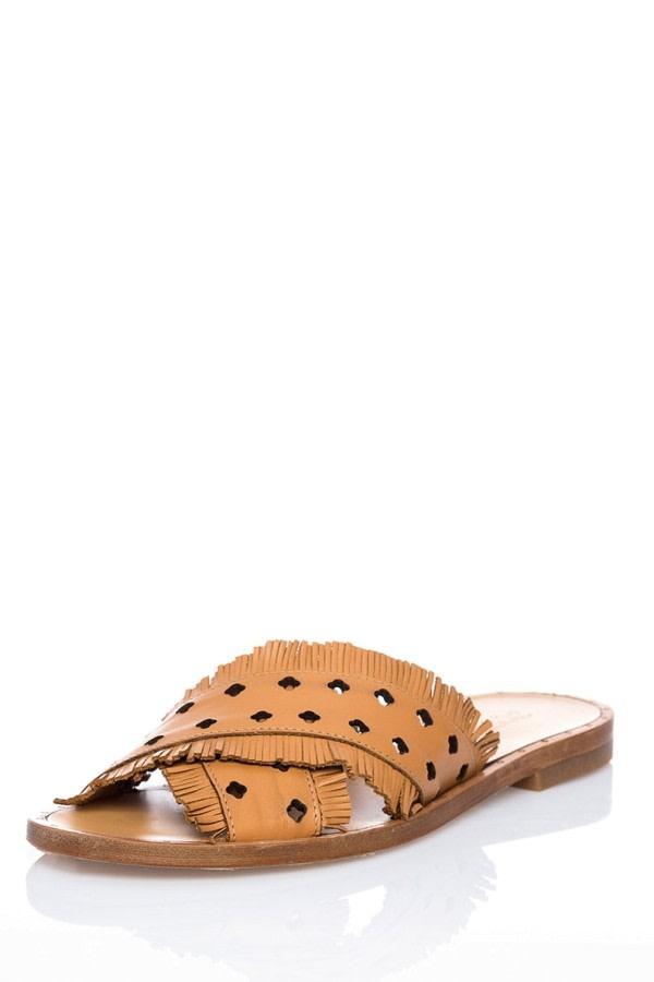 Fringe Leather Slides