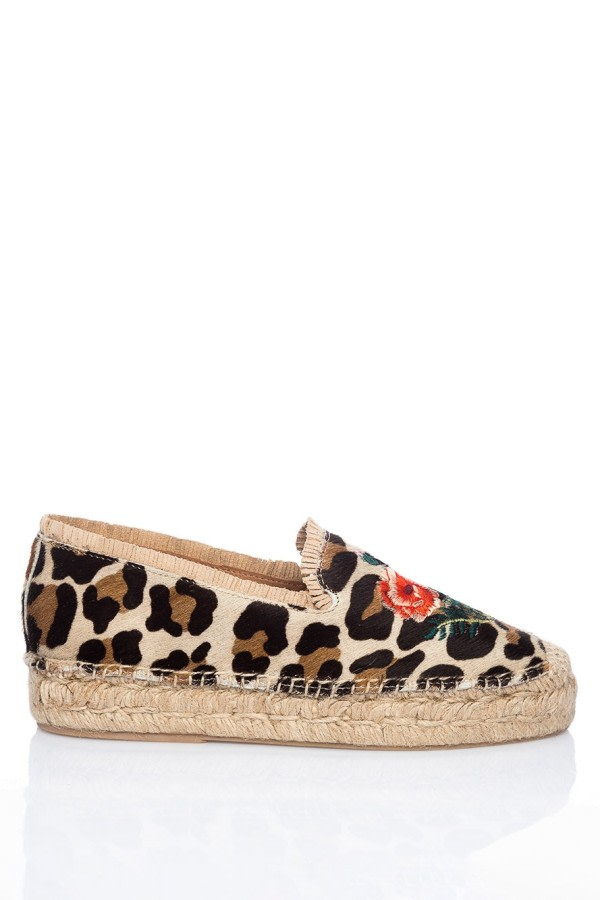 Leopard-Print Leather Espadrilles