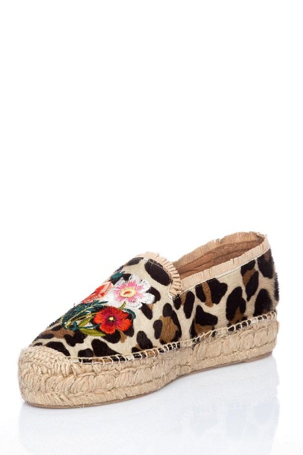 Leopard-Print Leather Espadrilles