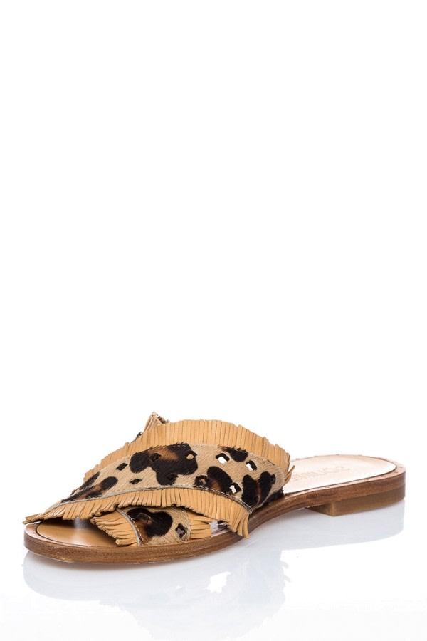 Leopard-Print Leather Slides