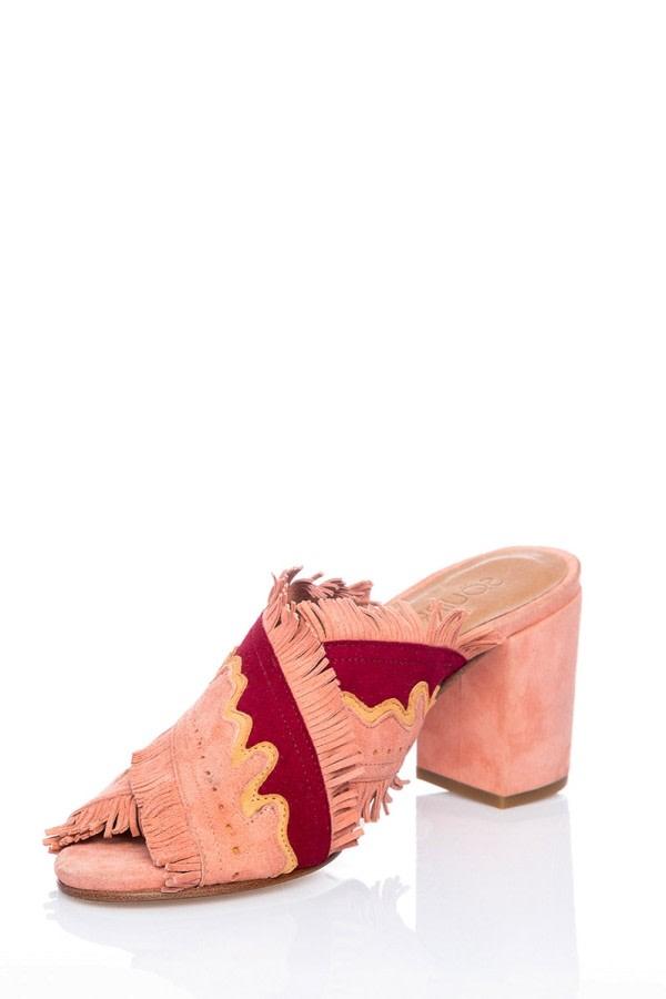 Pink Fringe Suede Mules