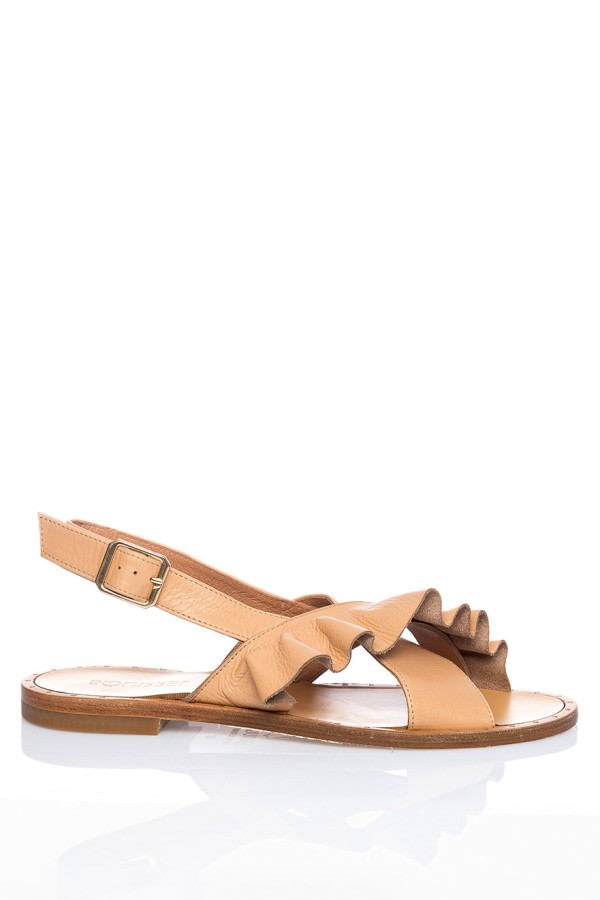 Ruffle Leather Sandals