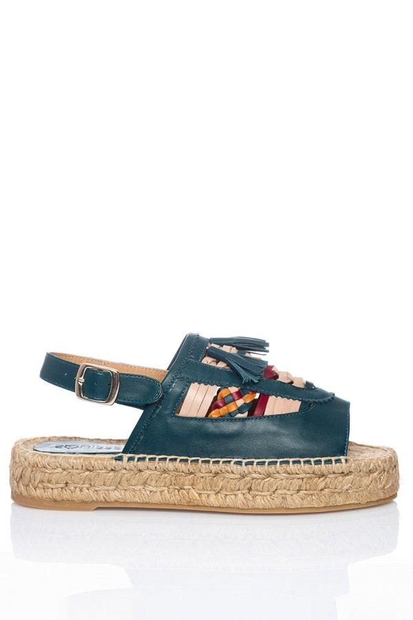 Tassel Leather Espadrille Sandals