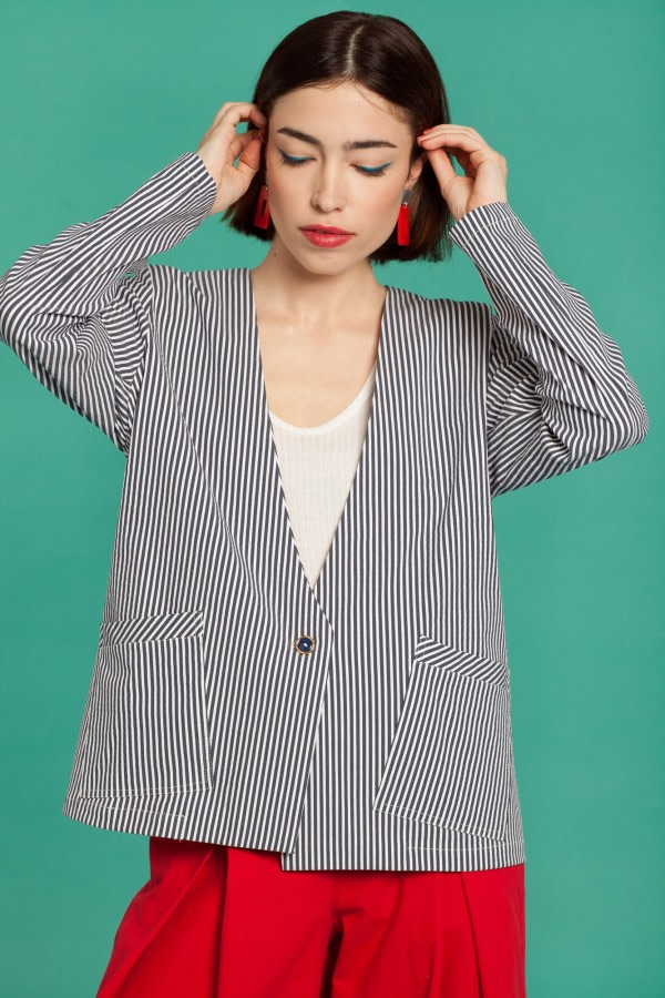 Storm Striped Cotton Blazer