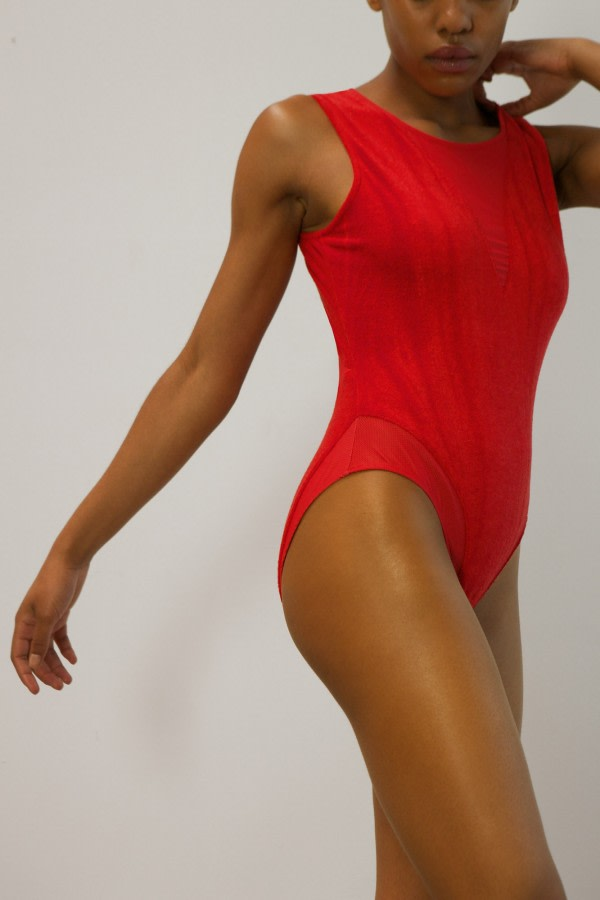 Red Velour Bodysuit