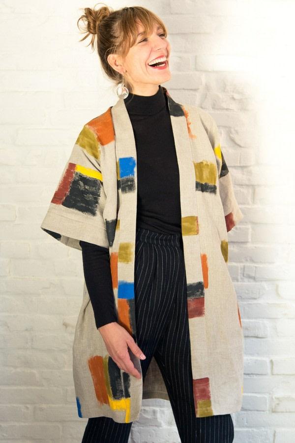 Handpainted Linen Kimono