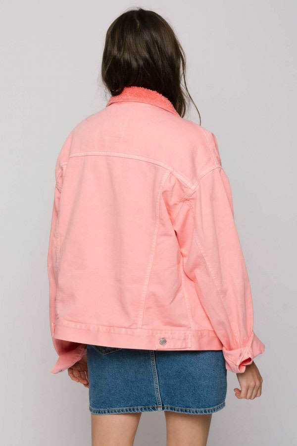 Salmon Oversized Denim Jacket