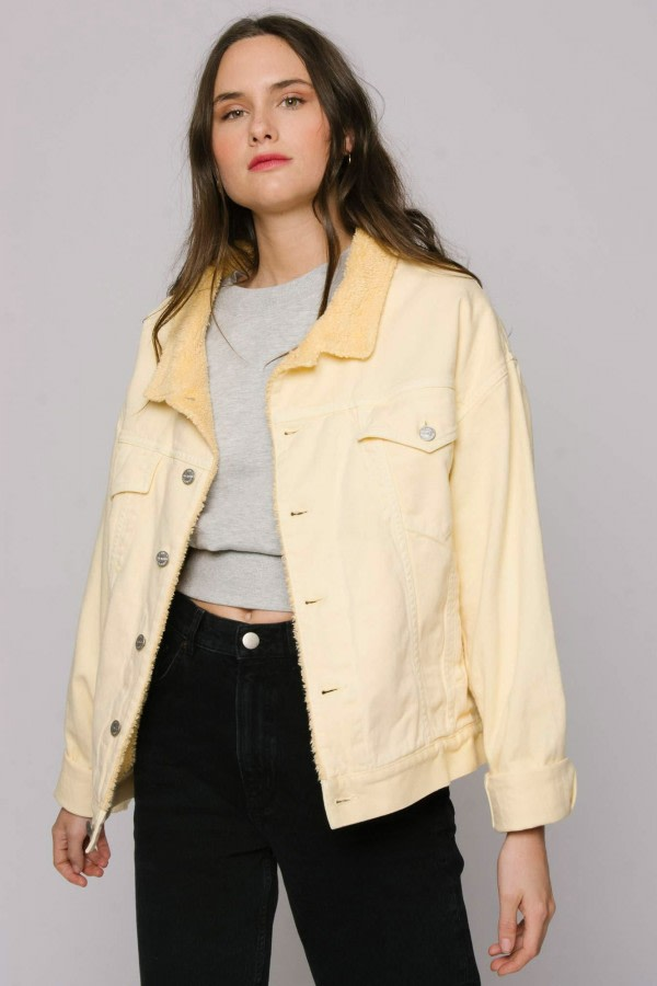 Yellow Oversized Denim Jacket