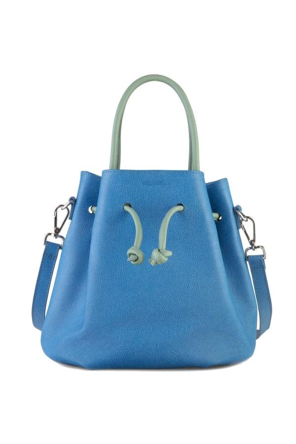 Tulipa Blue Leather Bucket Bag