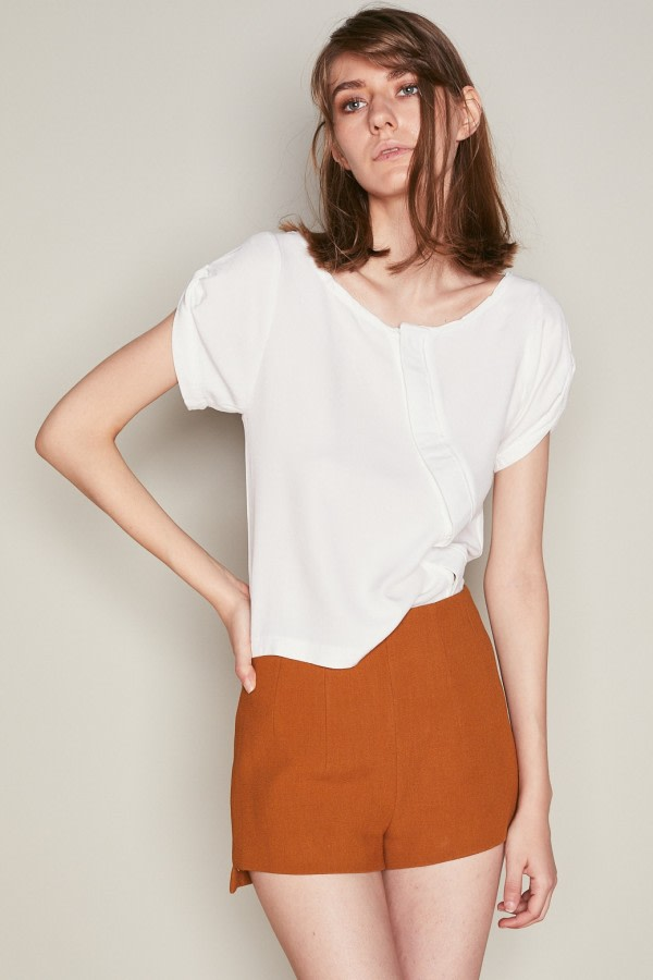 White Asymmetric Button-Down Top