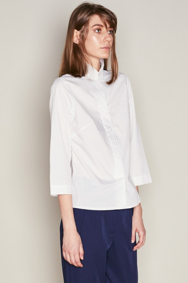 White Asymmetric Collar Shirt