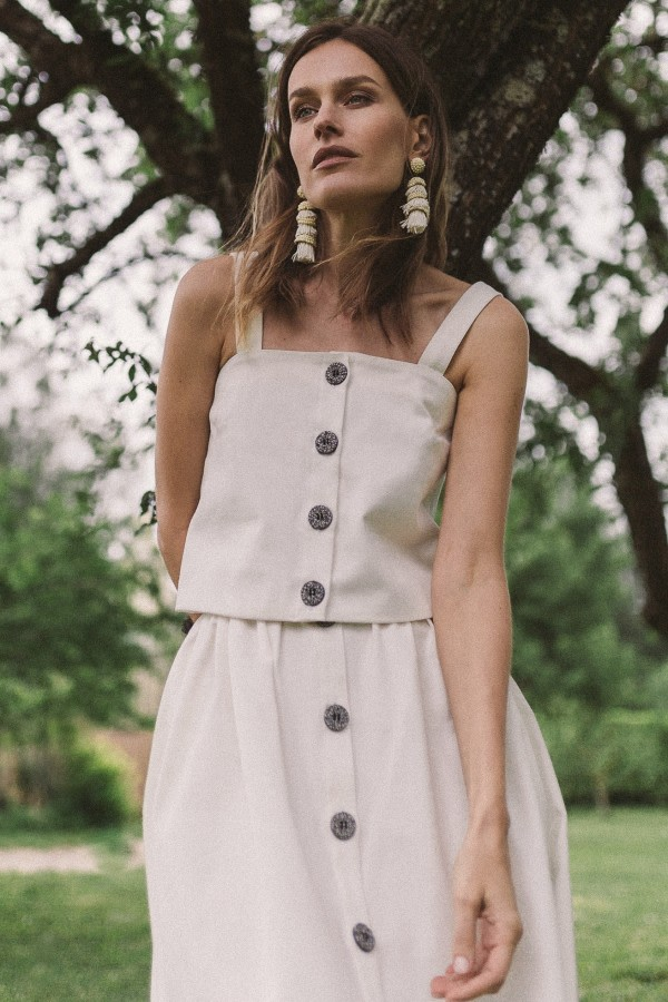 White Organic Denim Midi Skirt