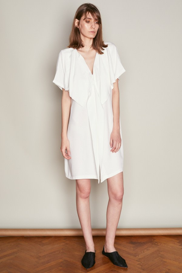 White Oversized Ruffle Dress