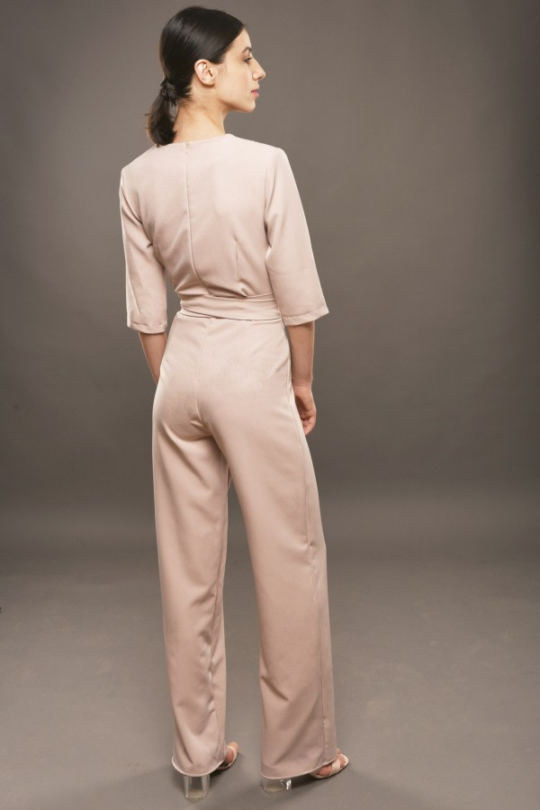 Beige Wide-Leg Jumpsuit