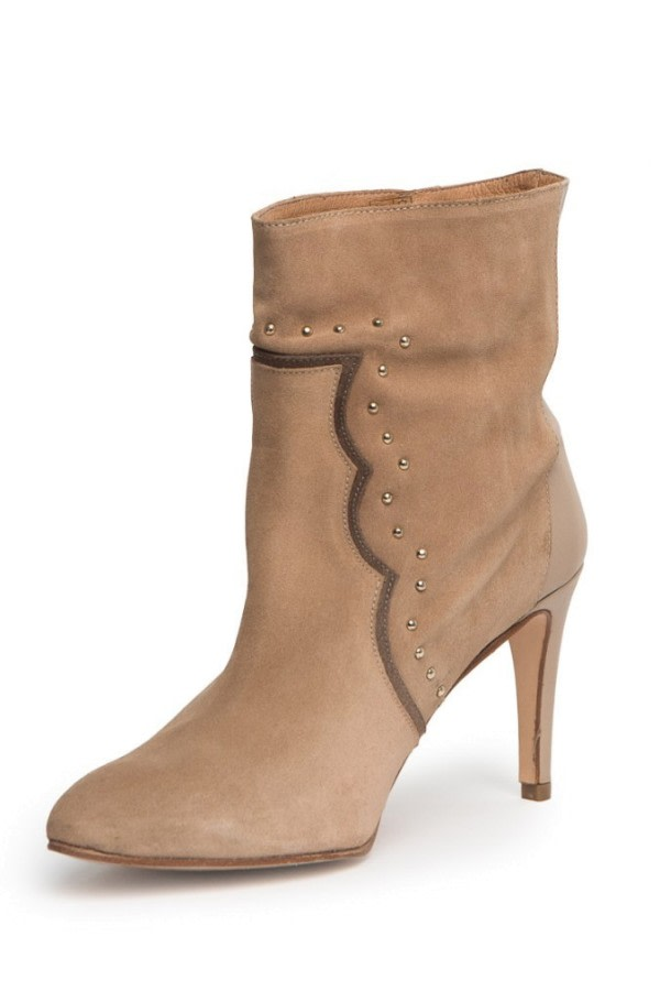 Studded High-Heel Ankle Boots