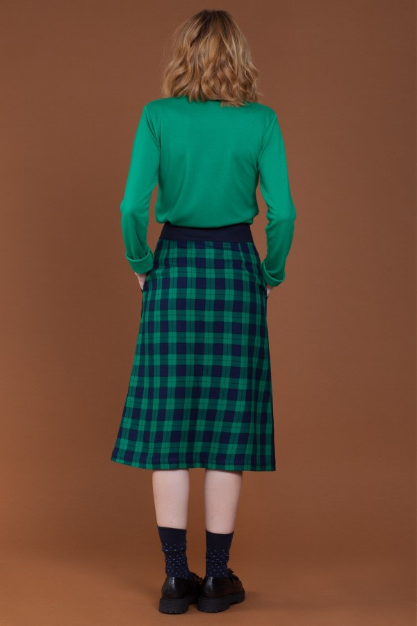 High-Waist Checked Midi Skirt