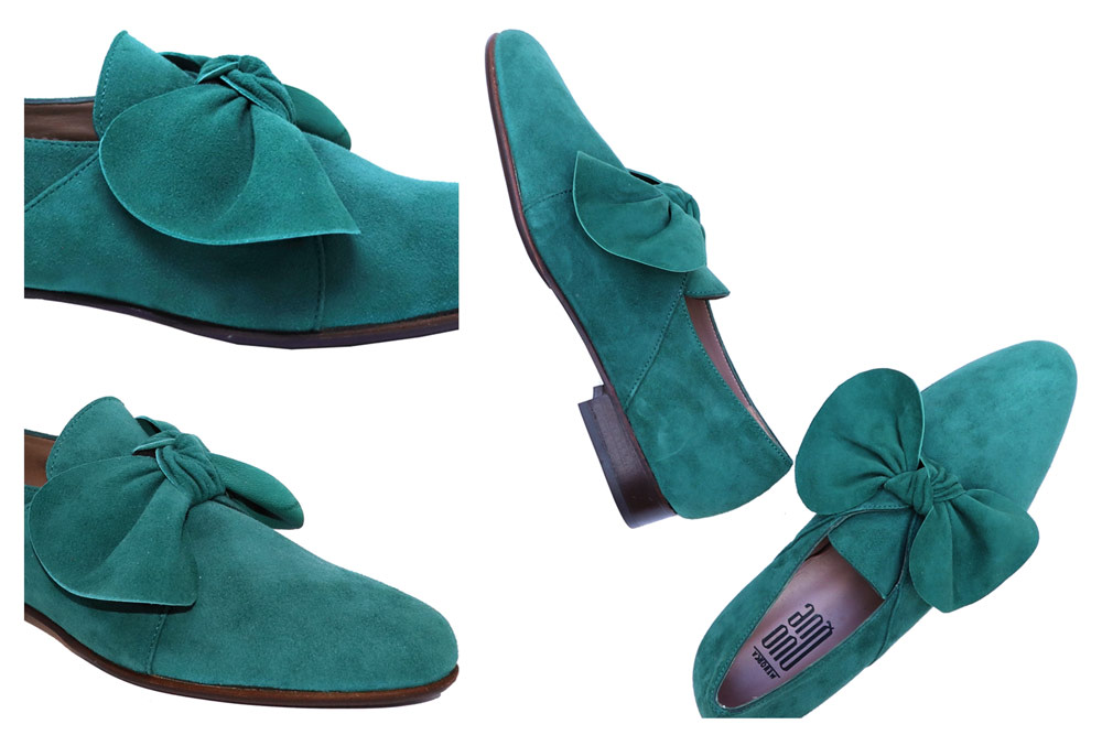 Forest-Green Suede Loafers with a Bow for Women:  Eco-friendly and faminine beauties with a bow detail to enhance your style