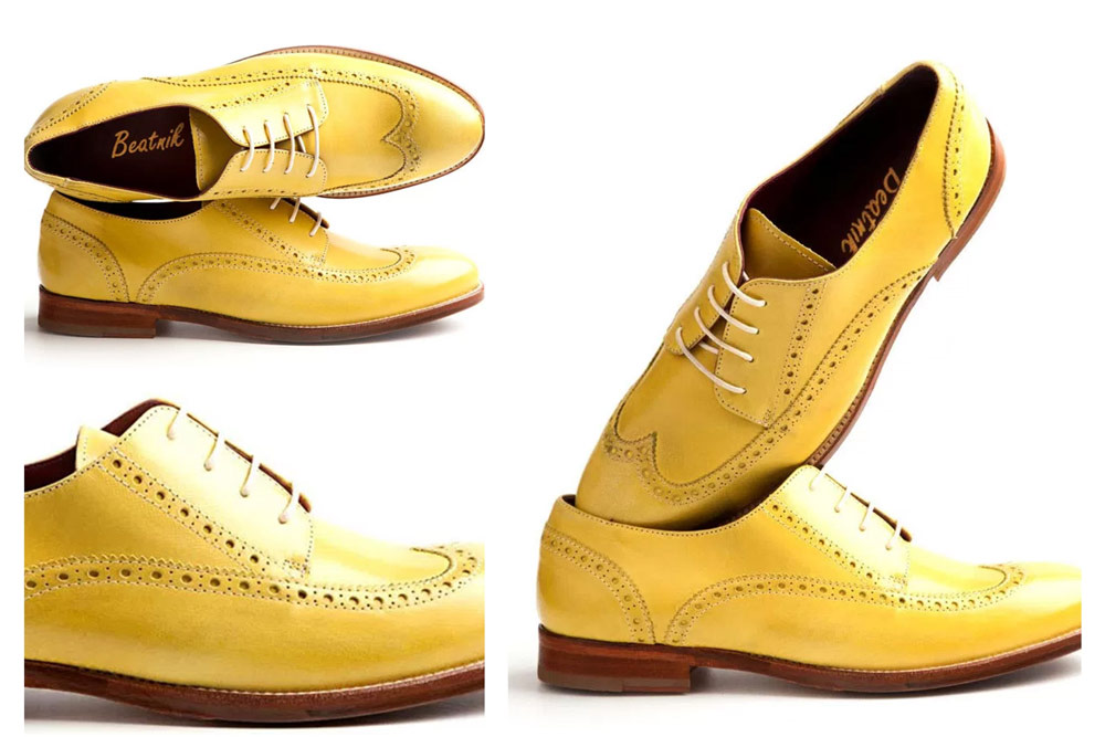 Lemon-Yellow Leather Brogues for Women: Made from locally-sourced, soft calfskin leather that has quality, comfort and the color to lift up your mood