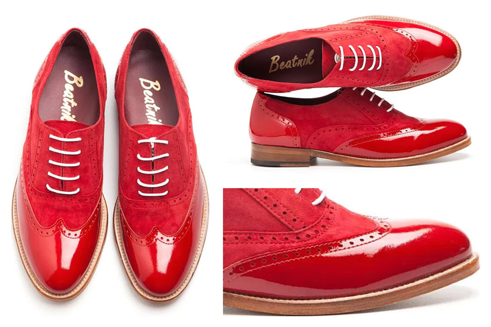Red Leather Brogues for women: The perfect blend of bold color, texture, and amazing luster in cherry red!