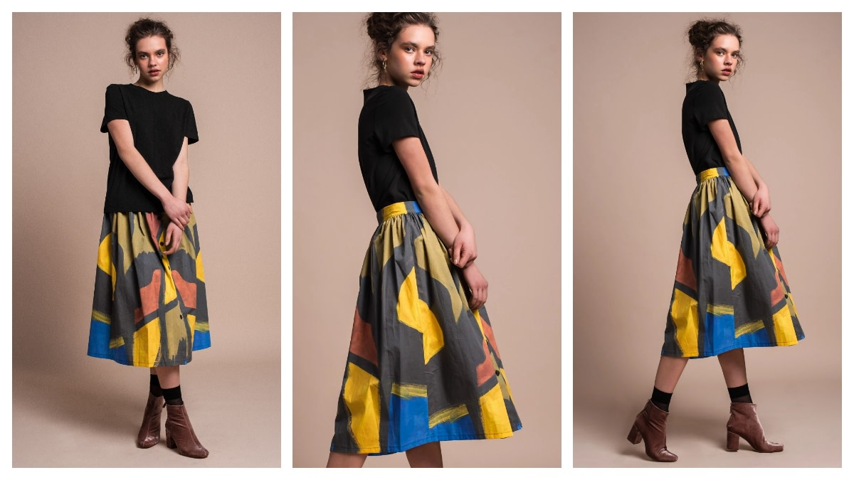 This intricate, abstract print midi-skirt works equally well for casual office style or autumn strolls in the park.