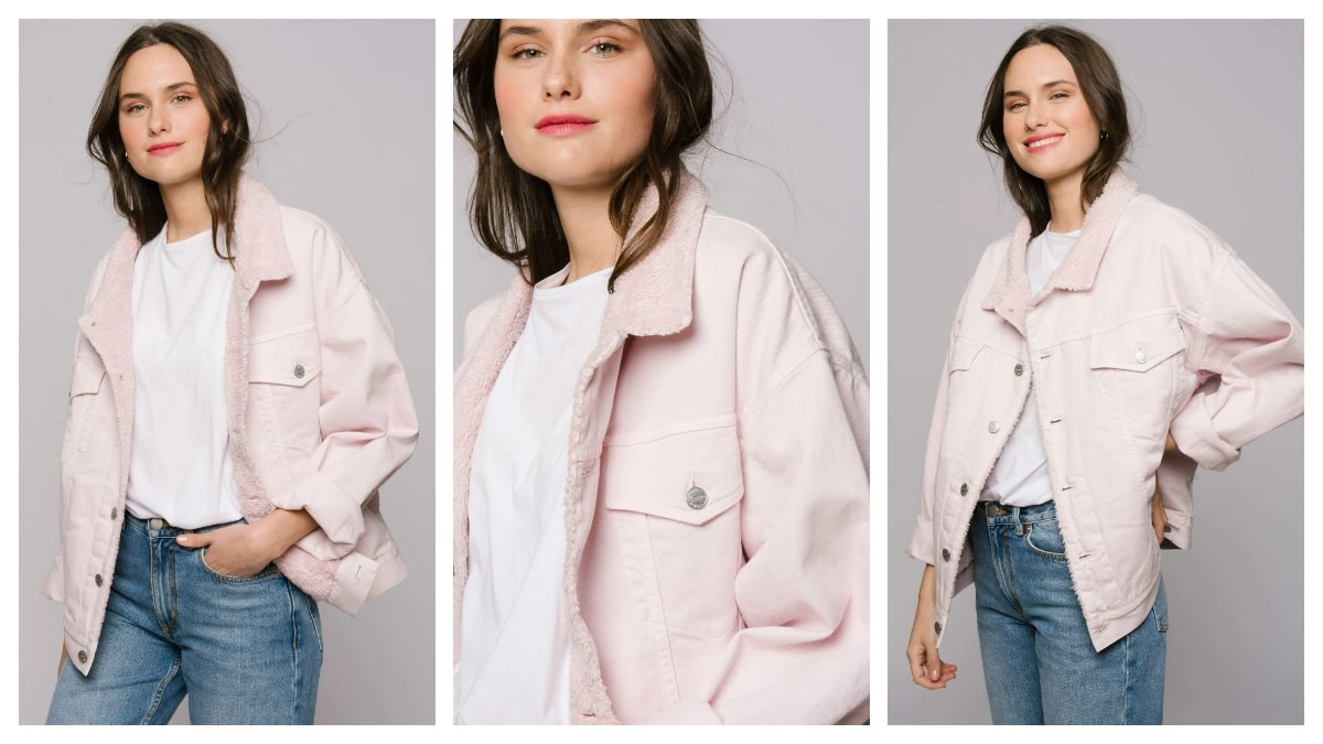 Denim jackets are in style in Europe, especially during transitional seasons. This lovely, pink jacket is perfect for the night out in the city with your friends.