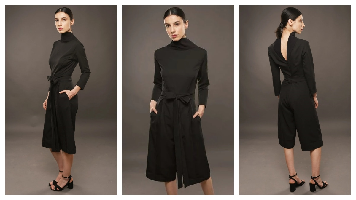 The sophisticated European fashion style as embodied in this chic turtleneck jumpsuit