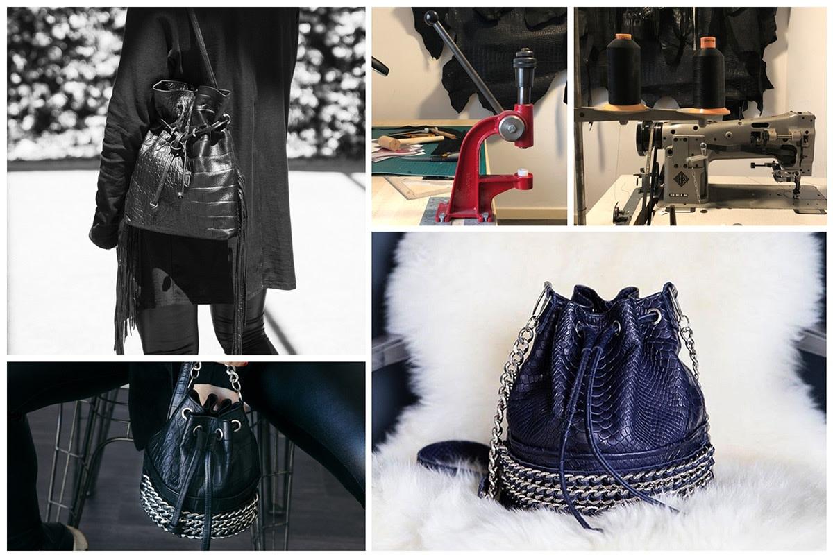 Long-Fringe Black Leather Handbags by Slow Fashion Designer Lady T