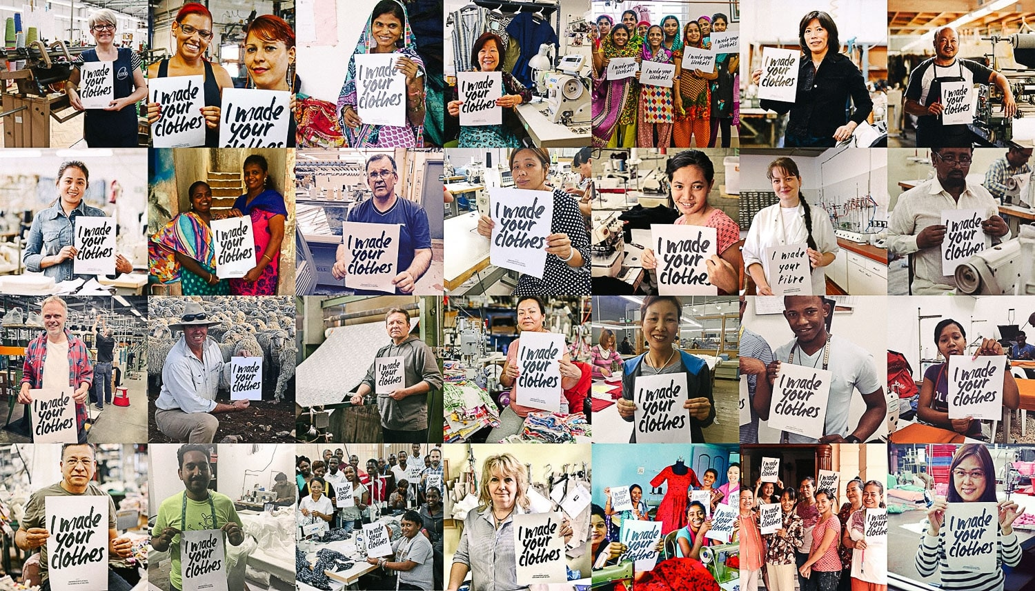 "People Holding Signs ""Who Made My Clothes"": Movement supporting the ethical fashion production methods"