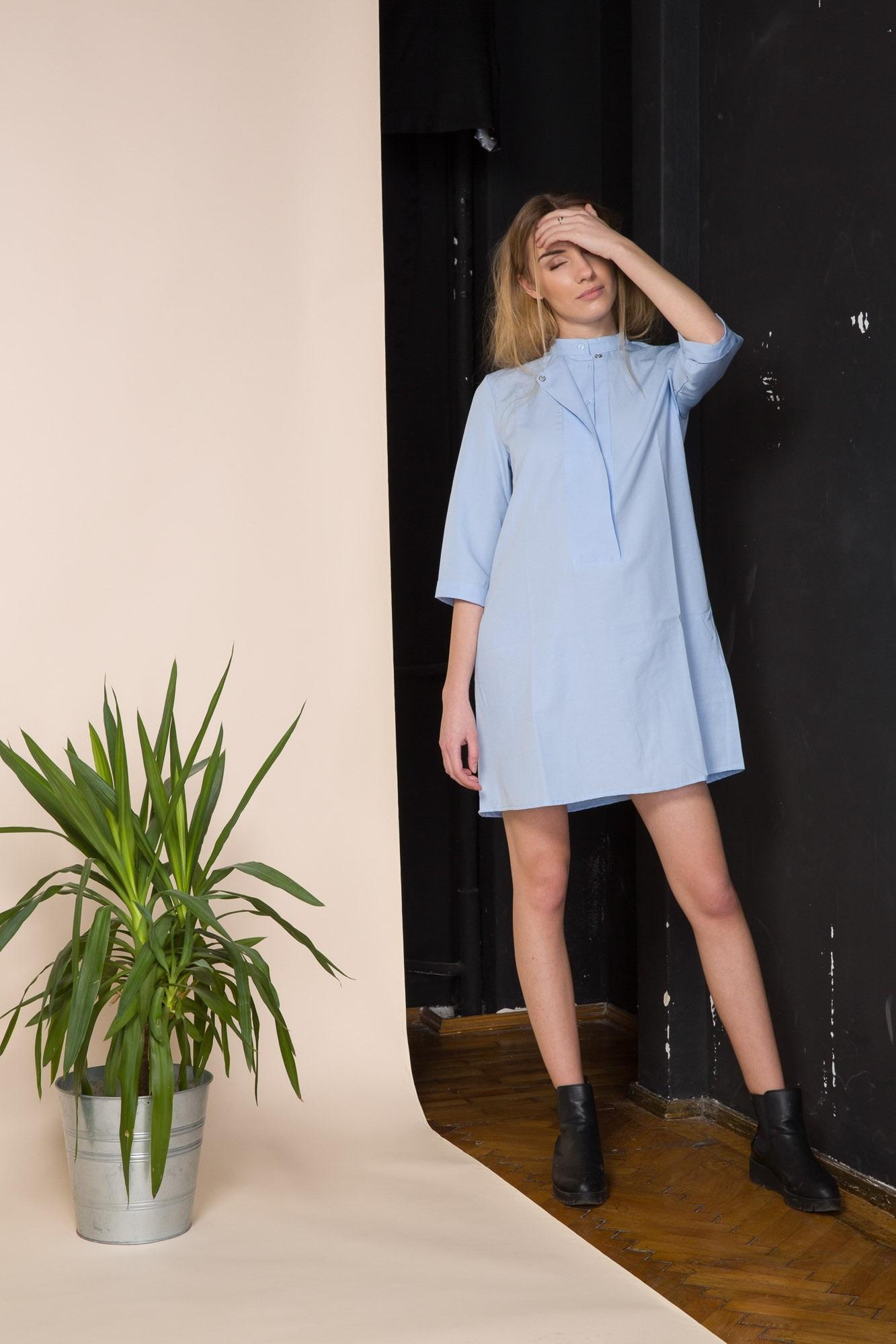 3a9caabb18d30a Blue Poplin Mini Shirt Dress | Dresses | Clothing | Sustainable ...