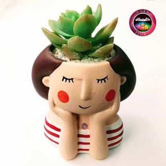 Suculenta matera cerámica muñecas cabello café frontal Neea Flora