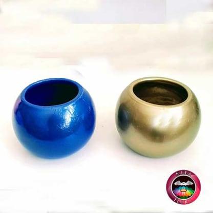 Materas cerámica bolitas colores dorada azul brillante Neea Flora