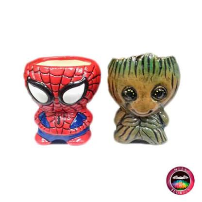 Suculenta matera cerámica superhéroes Marvel y DC Cómics Spiderman y Groot