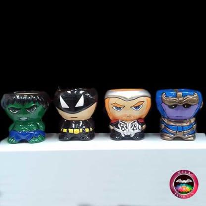 Suculenta matera cerámica superhéroes Marvel y DC Cómics Hulk, Batman, Thor, Thanos