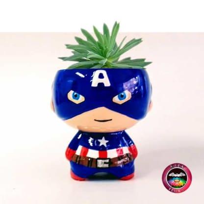 Suculenta matera cerámica super heroes Capitán América Neea Flora